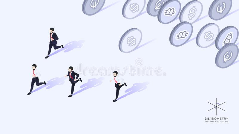 Businessmen running away from money. Wrong promotion development strategy. Conceptual isometric vector illustration vector illustration