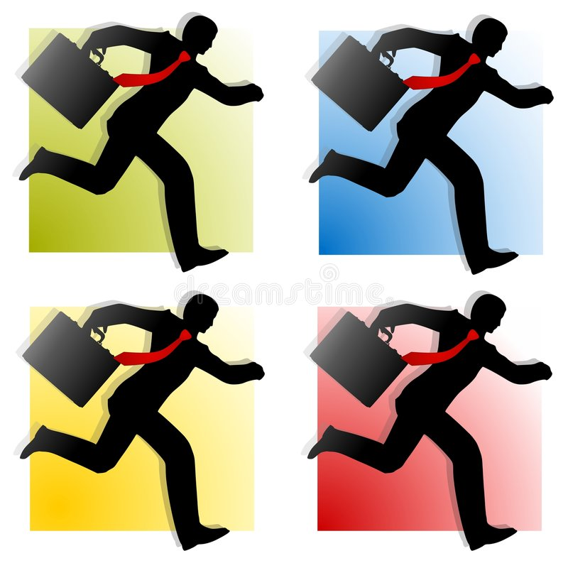 Free Businessmen Running Silhouettes 2 Royalty Free Stock Photography - 5306477