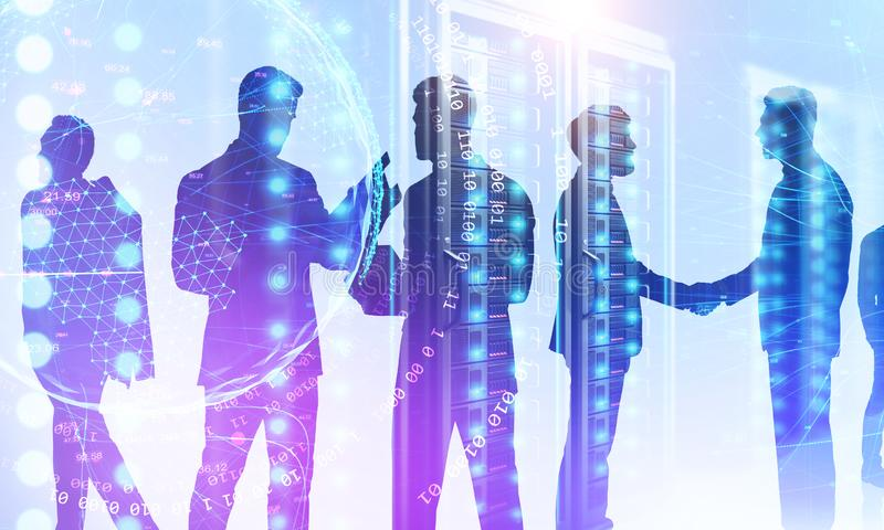 Businessmen in server room, network. Silhouettes of businessmen working in server room with double exposure of planet hologram and binary numbers. Concept of hi royalty free stock images