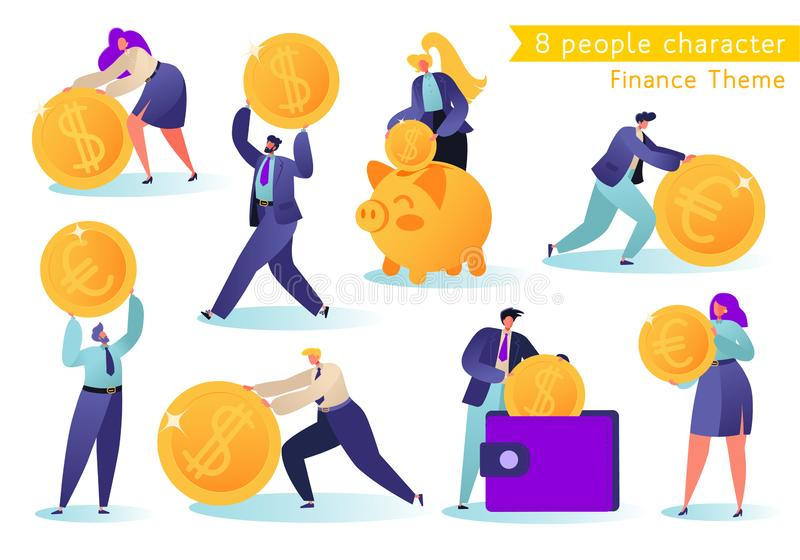 Flat, сartoon, vector Illustration collection. Different successful people characters making money. vector illustration