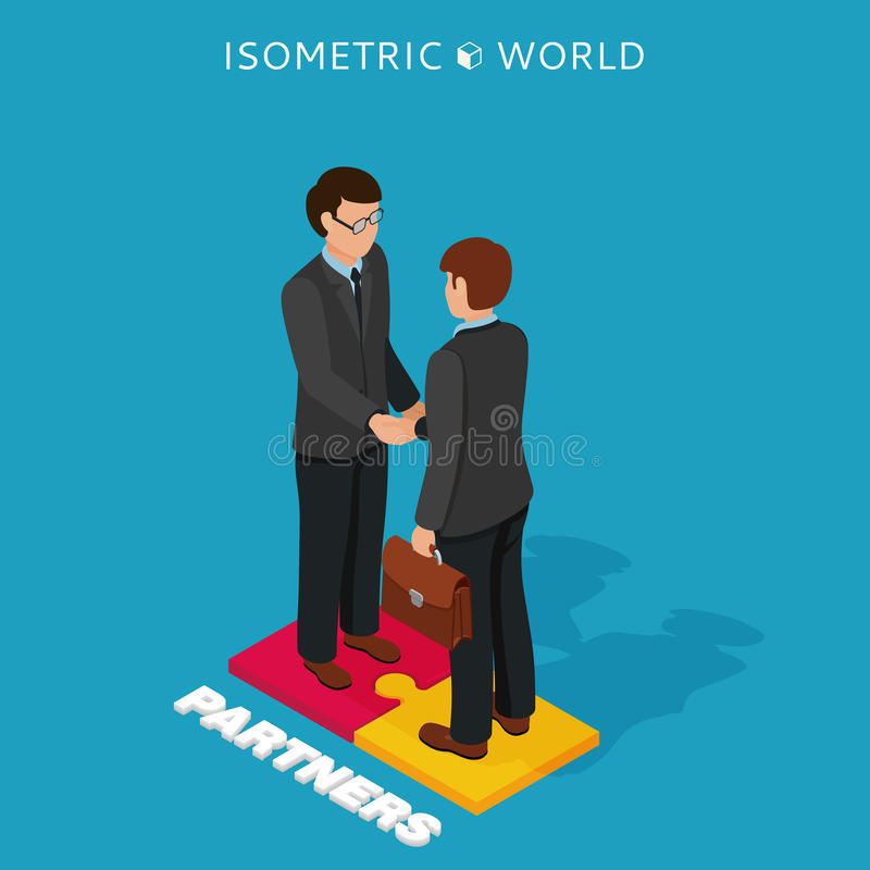 Businessmen shake hands isometric illustration, business concept agreement and cooperation vector illustration