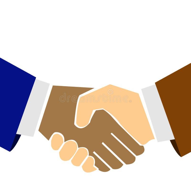 Businessmen shake hands. Vector style royalty free illustration