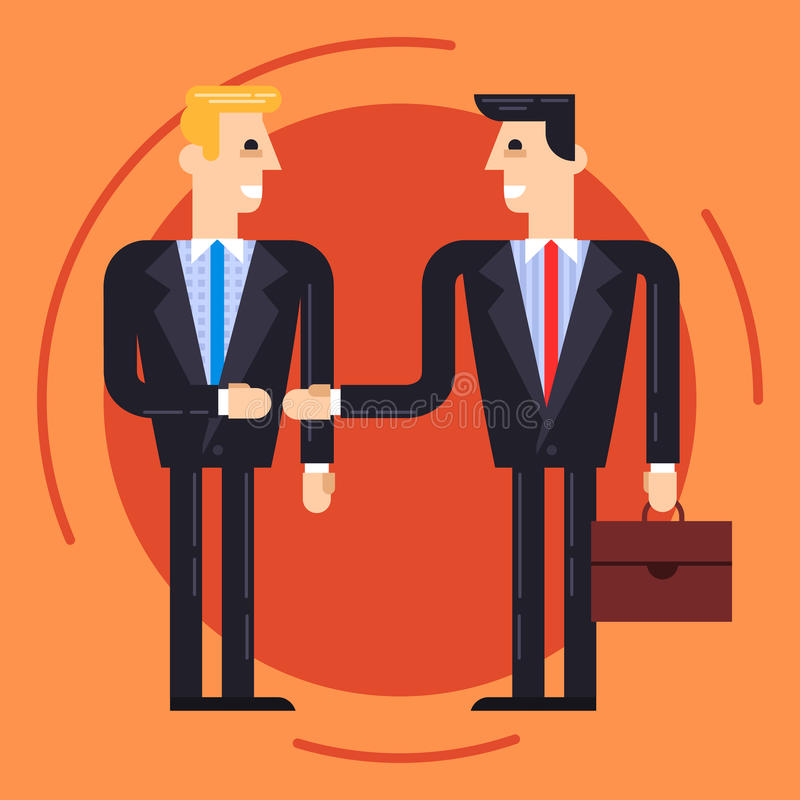 Businessmen shaking each other hands stock illustration