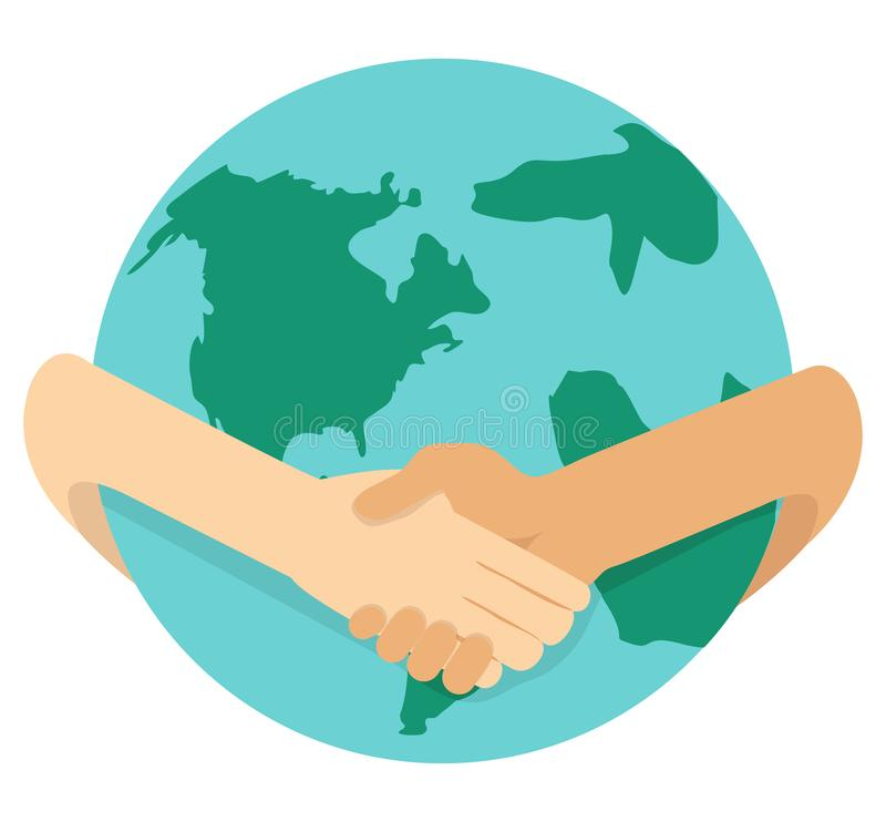 Businessmen shaking hands around the globe. Vector illustration, Flat and minimal vector eps file With Copy Space stock illustration