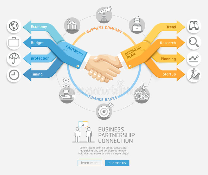 Businessmen shaking hands and arrows business Infographics style. Business partnership connection concept. Businessmen shaking hands and arrows business vector illustration