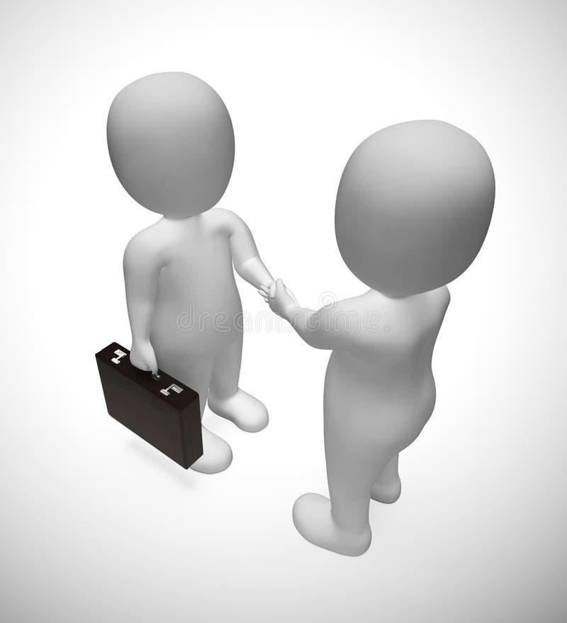 Businessmen shaking hands on a deal or agreement - 3d illustration. Businessmen shaking hands on a deal or agreement. Corporate partnership or get-together stock illustration