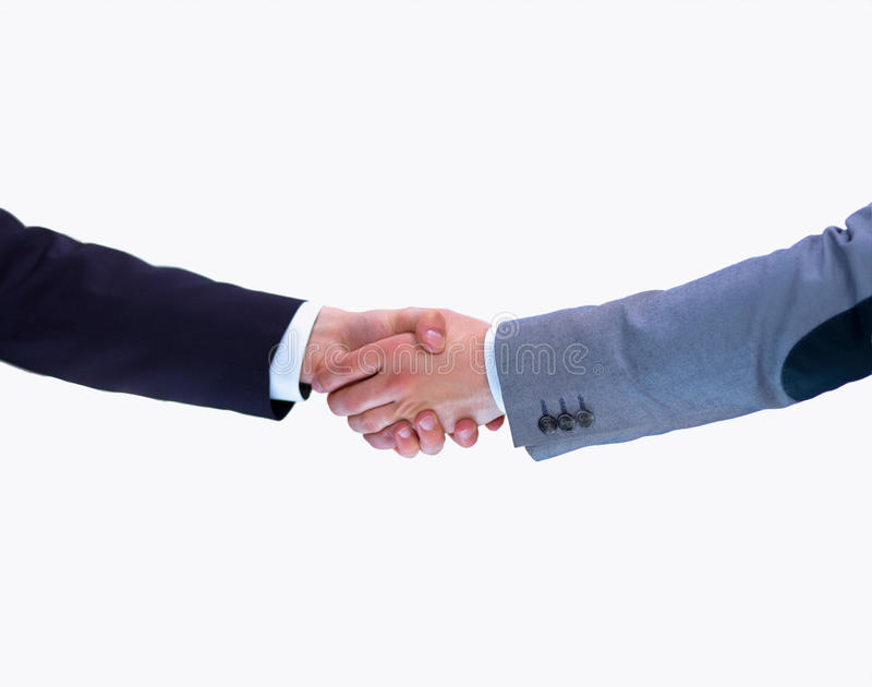 Businessmen shaking hands, isolated on white. Closeup stock photography