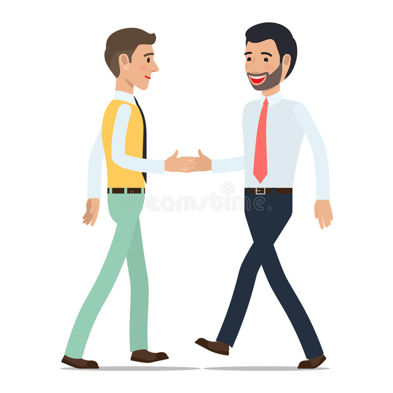 Businessmen Shaking Hands at Meeting Flat Vector vector illustration