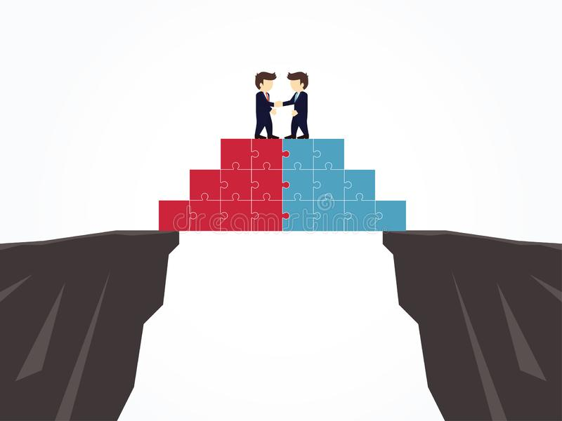 Businessmen shaking hands on a puzzle pyramid on an abyss. Vector illustration vector illustration