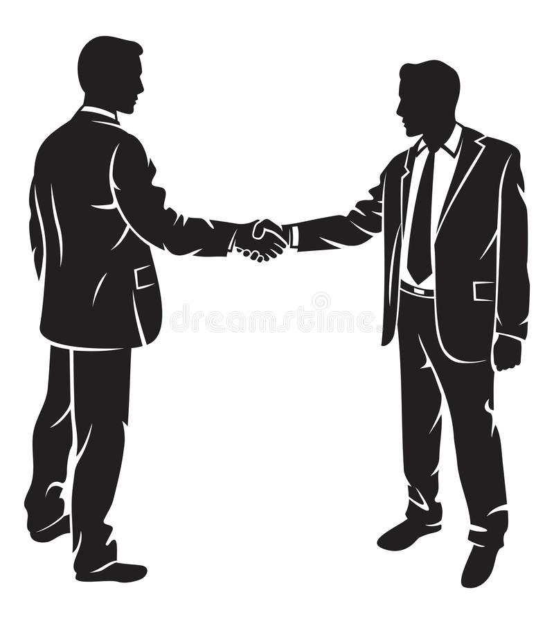 Businessmen shaking hands. Silhouette business contacts, meeting of businessmen, businessman shake royalty free illustration