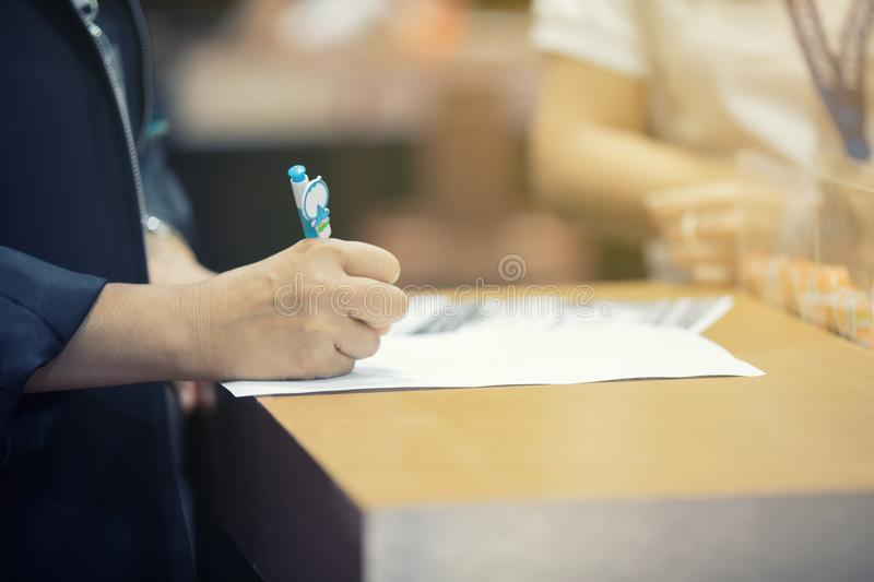 Businessmen are signing financial contracts An Official Document royalty free stock photos