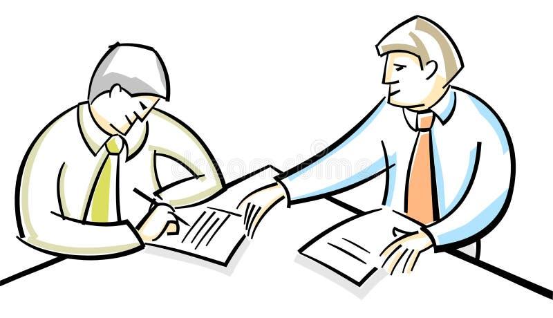 Businessmen singing contract. Vector illustration of a two businessmen singing contract vector illustration