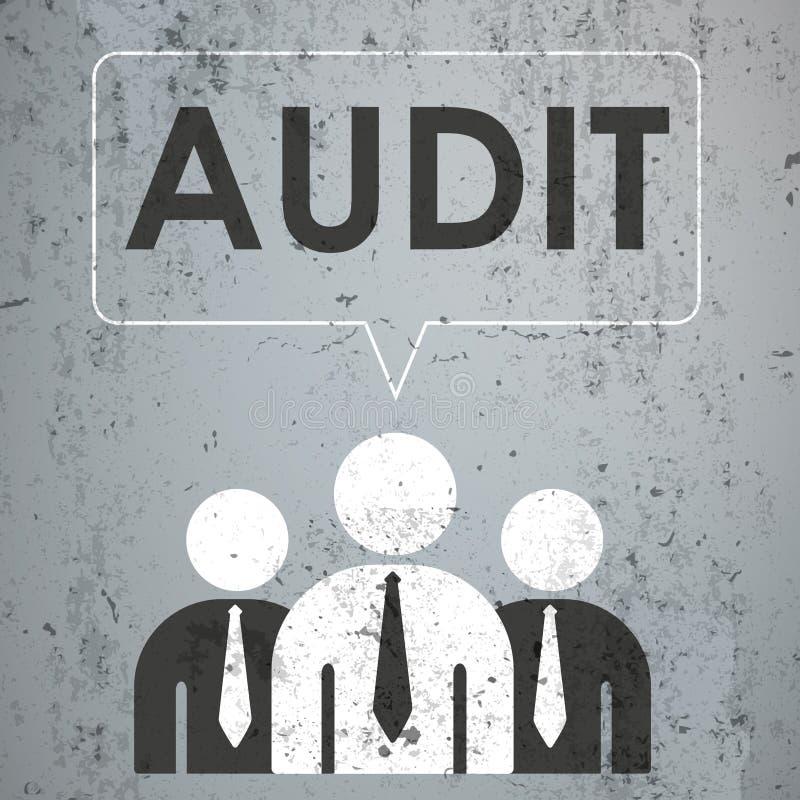 3 Businessmen Speech Bubble Concrete Audit. 3 businessmen with speech bubble and text Audit on the concrete stock illustration