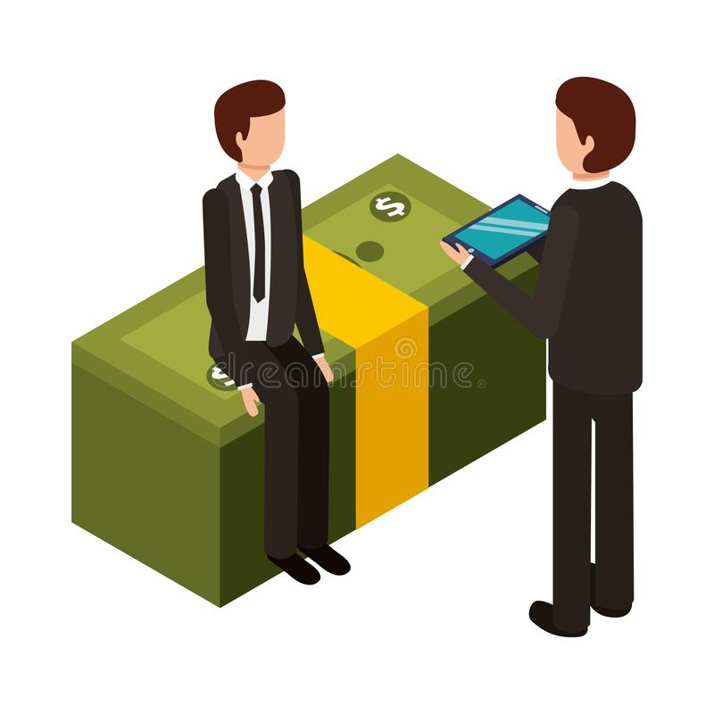 Businessmen with stack of bill dollar isolated icon. Vector illustration design stock illustration