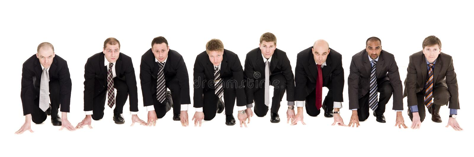 Businessmen in start position