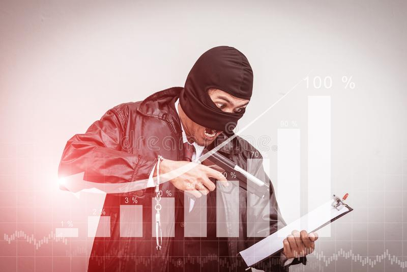 Businessmen are stressed with income.Agreed graph stock photography