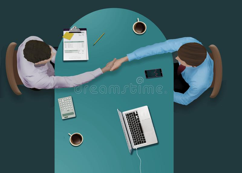 Businessmen strike a deal. And conclude with a handshake in this view from above of them working at a conference table stock illustration