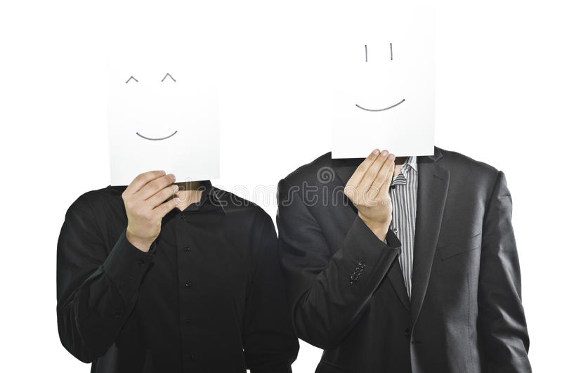 Businessmen In Suits With Paper Sheets, Emoticons Royalty Free Stock Images