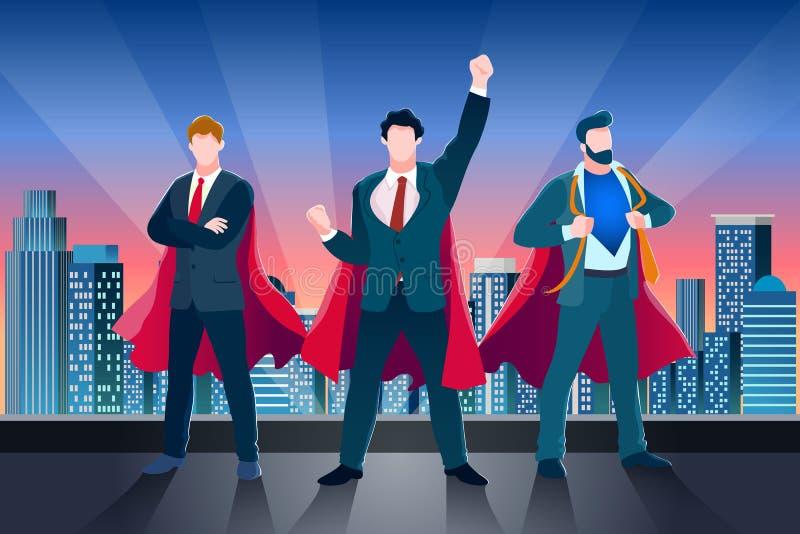 Businessmen in superhero cloaks on roof. Vector business metaphor illustration. Concept of success teamwork, leadership stock illustration