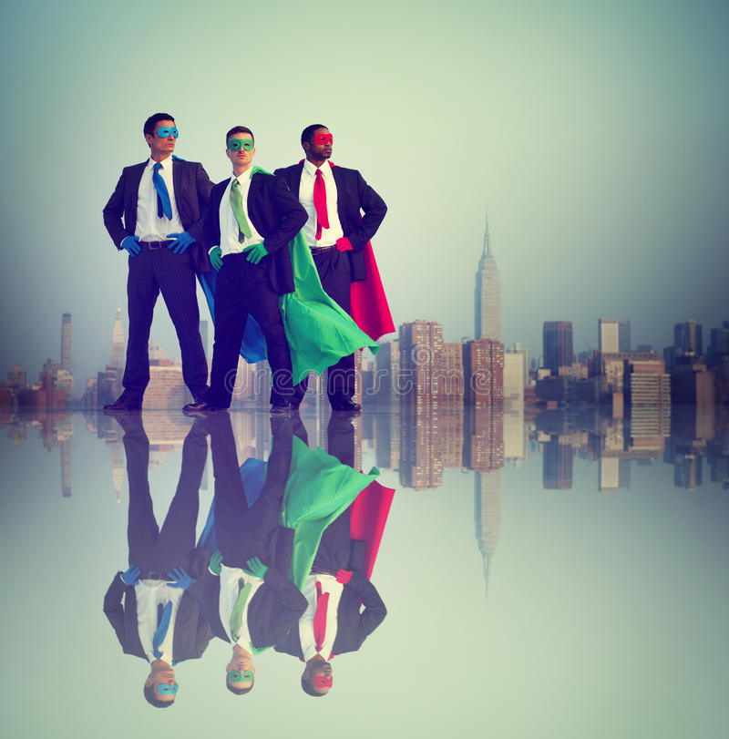 Businessmen Superhero Power Success City Concept stock photos
