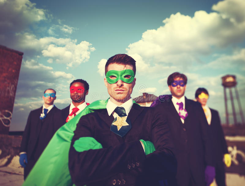 Businessmen Superhero Team Confidence Concept royalty free stock photos