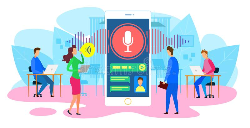 Businessmen Talk to AI Digital Android in Device. stock illustration