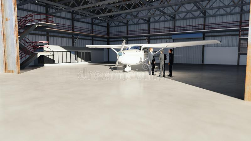 Businessmen talking in the hangar before the plane before departure. The concept of travel or journey. 3D Rendering vector illustration