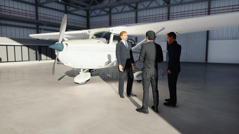 Businessmen talking in the hangar before the plane before departure. The concept of travel or journey. 3D Rendering royalty free illustration
