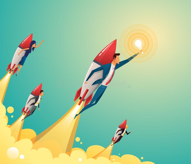 Businessmen team standing on rocket ship flying through on sky. Start up business concept. Vector flat vector illustration