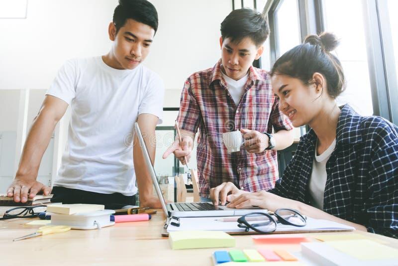 Businessmen teamwork brainstorming meeting. stock image
