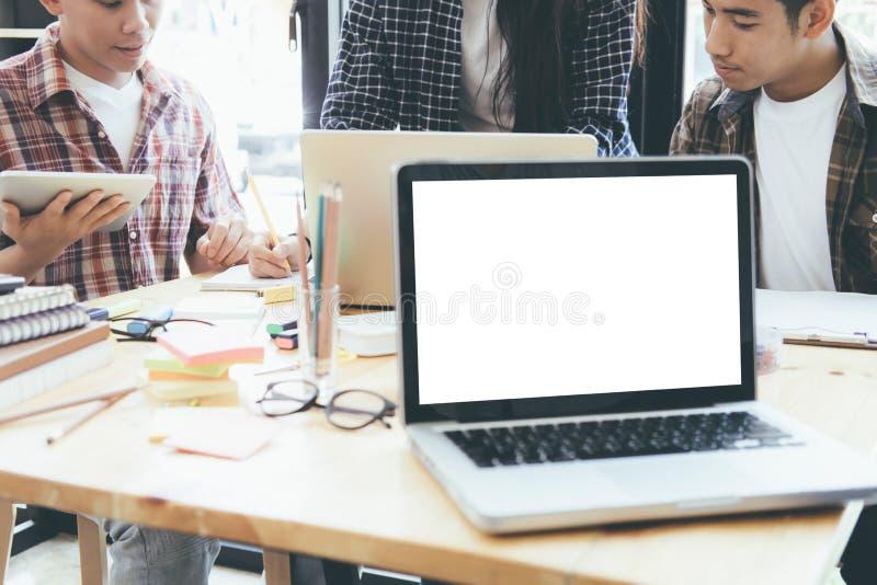 Businessmen teamwork brainstorming meeting. stock images