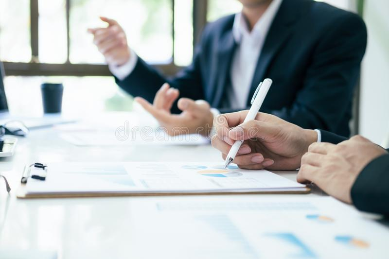 Businessmen teamwork meeting to discuss the investment royalty free stock images