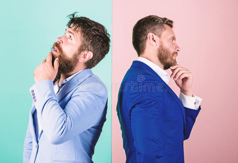 Businessmen thoughtful face thinking about business problem. Business in trouble concept. Business misunderstanding. Business team work on solving problem stock images