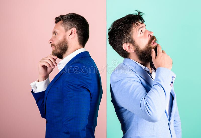 Businessmen thoughtful face thinking about business problem. Business in trouble concept. Business misunderstanding. Business team work on solving problem royalty free stock photo