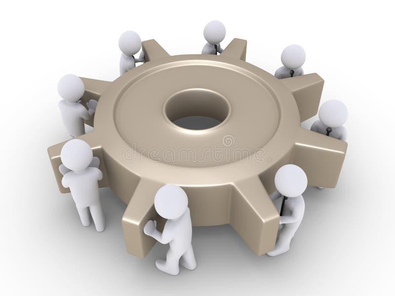 Download Businessmen Turn Cogwheel Stock Image - Image: 31249591