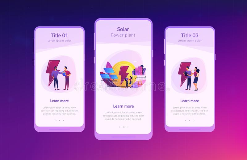 Solar energy app interface template. Businessmen use solar energy panels to produce electricity for the city. Solar energy, solar power plant, alternative vector illustration