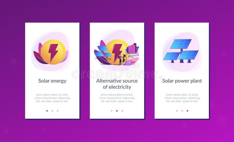 Solar energy app interface template. Businessmen use solar energy panels to produce electricity for the city. Solar energy, solar power plant, alternative stock illustration