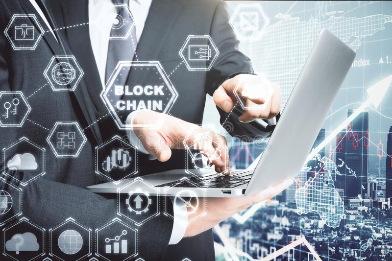 Cryptocurrency and teamwork concept royalty free stock photos