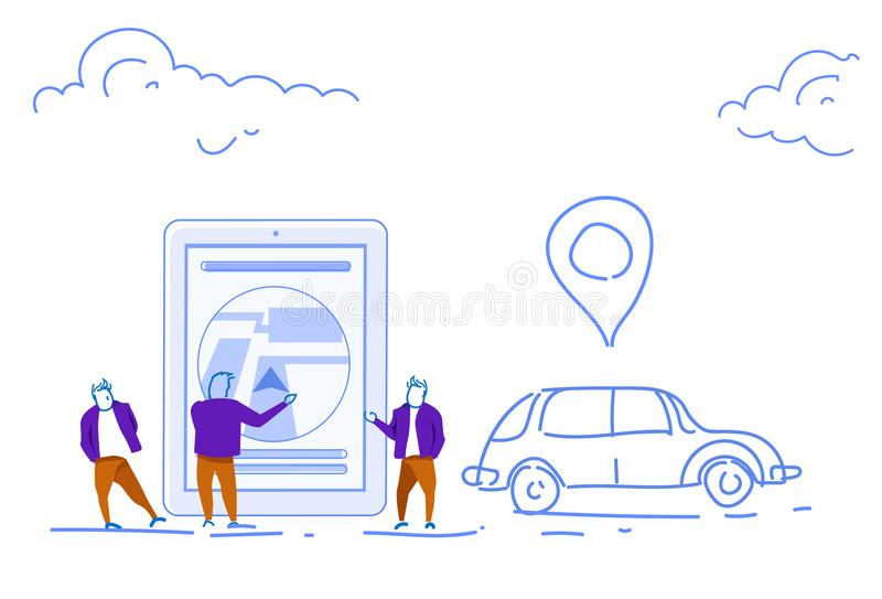 Businessmen using mobile app taxi service online city map application car delivery concept location geo tag sketch royalty free illustration