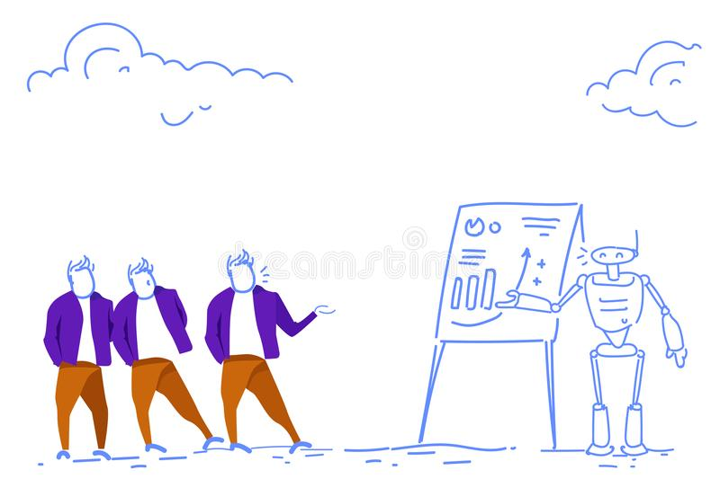 Businessmen vs modern robot financial graph analytics consultation concept men bot standing together brainstorming stock illustration
