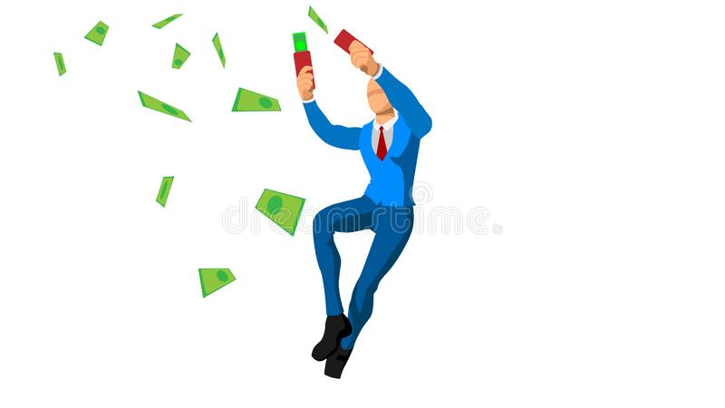 Businessmen waste money. expression and celebration of victory. financial freedom royalty free illustration