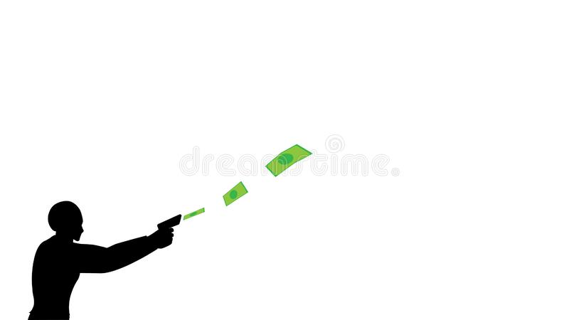 Businessmen waste money. flat design with separate background. financial freedom royalty free illustration