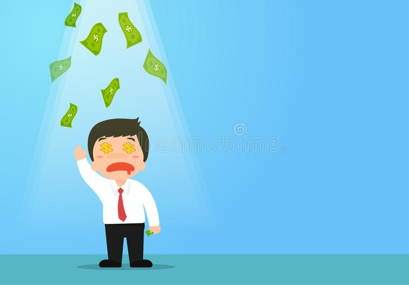 Businessmen who receive financial opportunities or employees who receive bonuses stock illustration