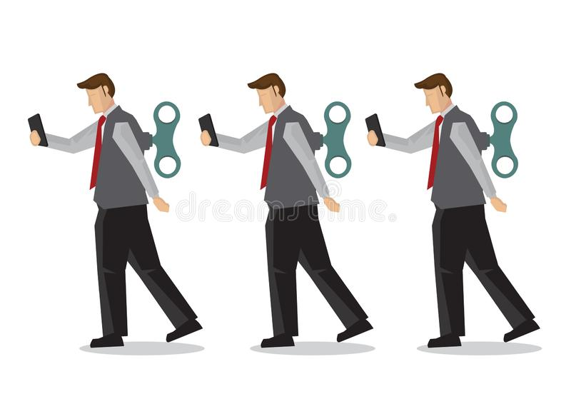 Businessmen with winder in their back. Concept of technology addiction, bad habit or robot employee stock illustration