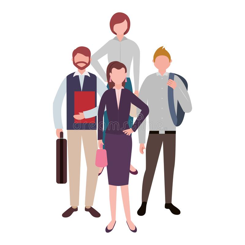 Businessmen and women standing teamwork characters stock illustration
