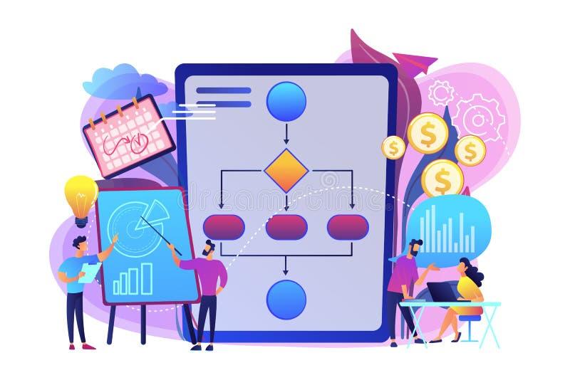 Business process management concept vector illustration. Businessmen work with improvement diagrams and charts. Business process management, business process royalty free illustration