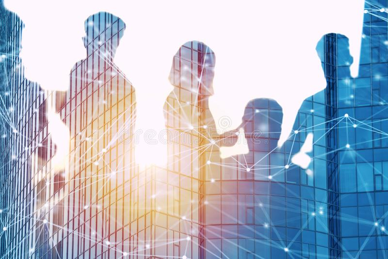 Businessmen that work together in office with network effect. Concept of teamwork and partnership. double exposure. Business people work together in office with stock illustration
