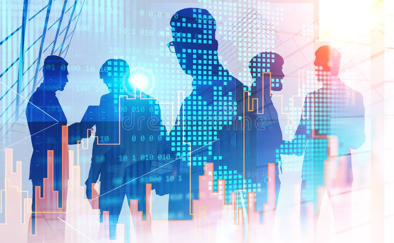 Businessmen working as team in city. Silhouettes of businessmen working together and talking in abstract city with double exposure of world map and graphs royalty free stock photos