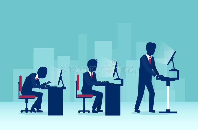 Businessmen working on computers in the office in different sitting positions one of them using a standing desk stock illustration