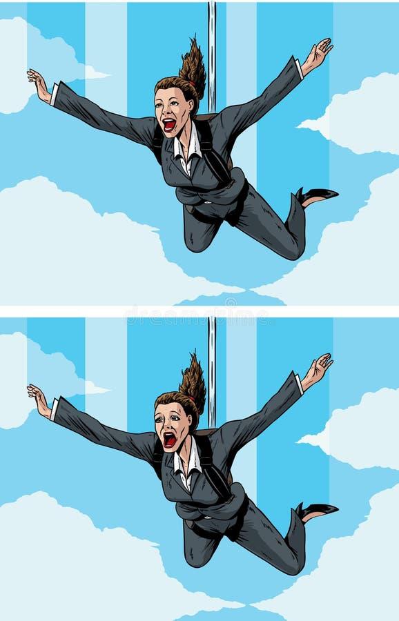 Businessmwoman felice/spaventato illustrazione vettoriale